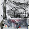 Shed in my Garden Linocut Print on Collage