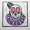 Clown Head Linocut with Collage Print on Paper