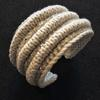 Knitted, wired, beaded adjustable cuff