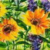 """Embellished monoprint """"Sunflowers and larkspurs"""" 16x11ins"""