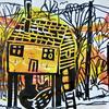 Houses and Fox Linocut Print Zig Zag Book