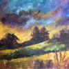 Title: Sunset over Vale.  Acrylic on Canvas