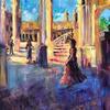 Title : Seville, Plaza de Espana, (Flamenco dancer).  Acrylic on canvas
