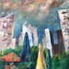 Title: Chicago Skyline.  Acrylic on Canvas.
