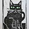 Black Cat Linocut Print Greeting Card