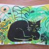 Kiki the Cat Zig Zag Book Linocut and Cheese Plant Prints