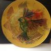 Bird on glass plate/hand painted with gold leaf
