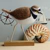 Little Ringed Plover - needlefelted sculpture mounted on a wood base