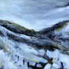 Winter Dale, mixed media on board, 30 x 30cms, framed
