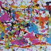 A brightly coloured splatter acrylic abstract