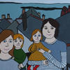 A naive-style family portrait in acrylic