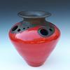 Decorated large red raku pot