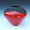 Large red raku pot