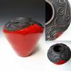 Carved large red raku pot