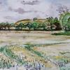 Over Barley Field - Hexton, Watercolour and pen sketch