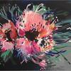 Flower Power (100x81cm) Large, expressive abstract floral painting