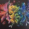 Carnival (91x61cm) Abstract rainbow floral painting