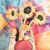 Sunflowers   Watercolour  Price £80  Size  43x53cm  Framed