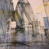 Detail: top centre. City under construction, London. Watercolour, 2H pencil, coloured pencils.