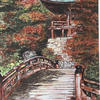 Japanese garden - sepia ink and watercolour picture