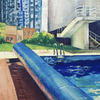 Outdoor pool - acrylic painting on canvas board