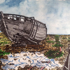 Abandoned boat, Dungeness. Watercolour.