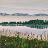 Mist over Loch Leven, Scotland. Watercolour.