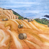 Harvest time, near Dunnottar Castle, Northumberland. Watercolour.