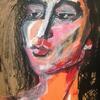 Portrait of model/liquid acrylic