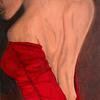 'Lady in Red' Oil on Paper