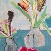 Little Vases on Tin Tray - mixed on canvas