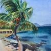Caribbean beach, BVI, watercolour 280x380mm