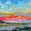 Red Sky. Acrylic painting on canvas. Size 50 x 20 x 3 cm. £250