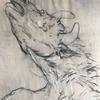 Detail of (Picasso) Blind Minotaur transcription. Watercolour, charcoal, white chalk