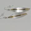 Fine silver drop earrings with 24ct gold stripe