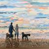 'The dogs and us at the beach'.Mixed Media