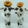 A pair of ceramic stoneware spotty hound vases with Elizabethan heart shaped collars...why not?  34cm high.