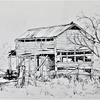 Barn in the Bush - Australia, Pen and ink wash
