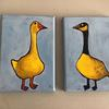 """'Christmas Geese' - this pair of seasonal birds are painted in acrylic on 5 x 7"""" canvas ready to hang.  A great stocking filler!"""