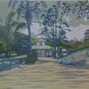 """Beach at Puerto Viejo"" - Linocut - unique"