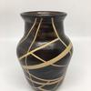 Vase with re-imagined stripes, raw glazed, once fired
