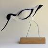 Avocet - needlefelted sculpture mounted on a wood base