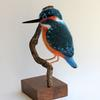 Kingfisher - needlefelted sculpture embellished with embroidery threads, mounted on a wood base