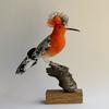 Hoopoe - needlefelted sculpture embellished with fabric mounted on a wood base