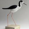 Black Winged Stilt - needlefelted sculpture mounted on a wood base