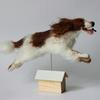Leaping Willow! - needlefelted commission of an English Springer Spaniel, mounted on a wood kennel