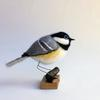 Coal Tit - needlefelted sculpure mounted on a wood base