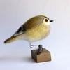 Goldcrest - needlefelted sculpture mounted on a wood base