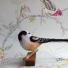 Long Tailed Tit - needlefelted sculpture mounted on a wood base
