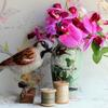 House sparrow - needlefelted sculpture mounted on a wood base